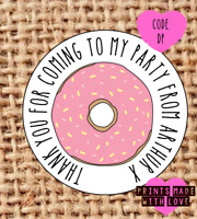 Doughnut party stickers | party bag | sweet cone labels | baby shower | 24 | AB