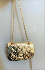 Nwt Mae Li Rose Little Girls' Gold Quilted Mini Shoulder Bag on Chain