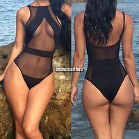 One-piece Monokini Women Padded Mesh Bikini Swimsuit Swimwear Swimdress ONMF