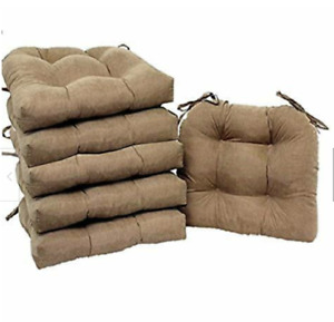 SET OF 6 Microfiber Soft Plush Kitchen Dining Chair Pads BROWNSTONE New
