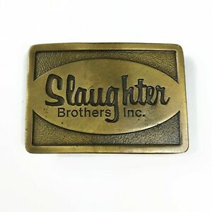 Vintage Slaughter Brothers Belt Buckle Indiana Metal Craft Lumber Wood Texas TX