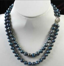 Natural 9-9.5MM Black Freshwater Cultured Pearls 2Row Necklace 17-18'' JN1564