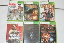 6 VIDEO GAME LOT  Xbox 360  Bioshock Mortal Combat Red Dead Redemption Skyrim+