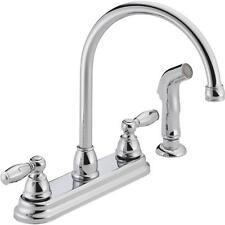 Delta Peerless Double Handle Designer Kitchen Faucet with Matching Side Sprayer