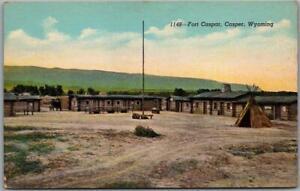 """Vintage 1940s Casper, Wyoming Postcard """"Fort Casper"""" Military / Tepee - Linen"""