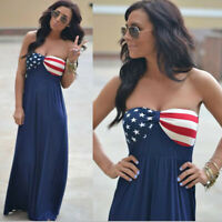 US Womens American Flag Printed Sleeveless Boho Long Maxi Evening Beach Dress