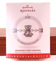 "Dated  2016 Hallmark Ornament ""GrandBaby's First Christmas"" In Box"