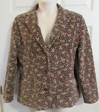 LL BEAN Women's Size 16 Petite Floral Corduroy Lined Jacket Blazer