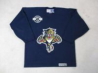VINTAGE CCM Florida Panthers Hockey Jersey Adult Large Blue Gold NHL SEWN Mens
