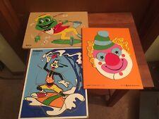 Lot 3 Vtg Wooden Puzzles SIFO Frog PLAYSKOOL Goofy JUDY INSTRUCTO Clown