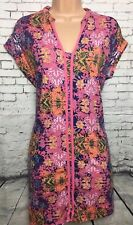 NEXT 8 Vgc Pink Blue Floral Jersey Sleeveless Tunic Mini Dress Casual Beach