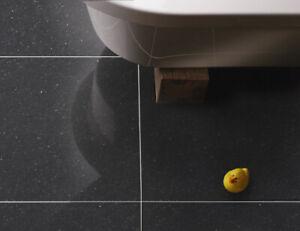 £20.89m2 Polished Quartz Effect Porcelain 60X60 Tile Black - Wall Floor - SAMPLE
