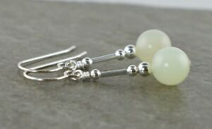 Pale Green New Jade Gemstone & Sterling Silver Drop Earrings + Gift Box