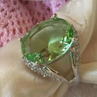 ANTIQUE ART DECO VINTAGE STERLING SILVER RING PERIDOT STONE RING SIZE X or 11.5