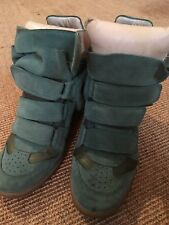 Isabel Marant Womens Green Suede Bekett Wedge High Top Sneakers Size 36