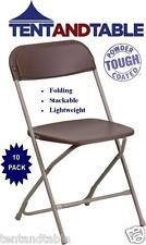 10 Marrón Comercial plástico plegable silla sillas Partido apilable Evento