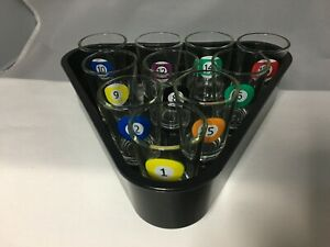Shot Glasses Glass Pool Liqueur Set with Triangle Rack Tray Vintage Motif EUC !!