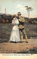 American Lake Washington Encampment Couple Military Antique Postcard K26677