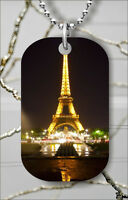 PARIS FRANCE EIFFEL TOWER AT NIGHT DOG TAG NECKLACE PENDANT FREE CHAIN -ghr5Z
