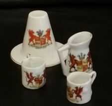 Crested china Welsh Ladies Hat, Jug and Two Mugs with ARMS OF WALES crest