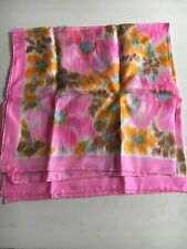 Vintage Glentex Silk Scarf 26� X 26� Pink Gold Blue Watercolor Beautiful Mint