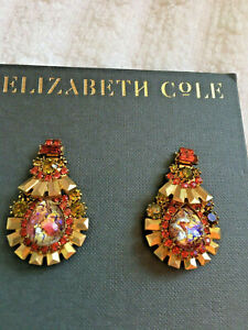 Elizabeth Cole Gold Plated Phyllis Coral Statement Earrings gorgeous