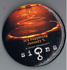 "Signs 3"" Pinback Button Alien Movie Film Advertising M Night Shyamalan Spaceman"