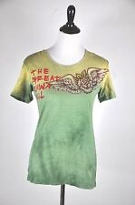 Great China Wall Green Embellished Rhinestone Rose Cotton T Shirt Size M-L
