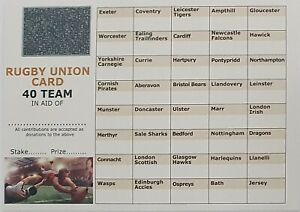 25 x 40 Team Rugby Union scratch cards A6 FULL COLOUR FUNDRAISING IDEAS CHARITY