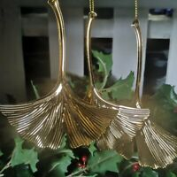 Ohrringe Golden Kunst Deko Linear Lang Blatt Ginkgo Emaille Grün DD14