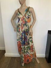 matthew williamson Long 100% Silk Maxi Dress Sleevelsss Uk 10 Size 38 GC