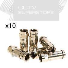 10 x RG6 F Coax Coaxial Compression F Connectors Satellite Cable TV