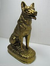Old German Shepherd Dog Doorstop Bookend Decorative Art Statue Brass/Br Wash