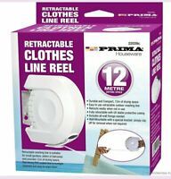 RETRACTABLE CLOTHES REEL LINE 12M PVC COATED DRYER WASHING OUTDOOR + FIXINGS NEW