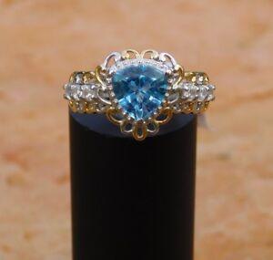 Electric Blue Topaz & Zircon RING (sz 6) 14K Gold & Platinum/Silver