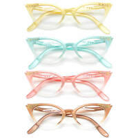 Cat Eye Retro Eyeglasses Stone Color Frame Clear Lens Women Fashion Glasses