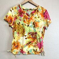 CARIBBEAN JOE Women's L Floral Ruched Tie Sides Shirt V-Neck Stretch Top