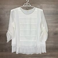 Krazy Kat Womens Size XL Blouse White Embroidered Lace Roll-Tab Sleeve Lined