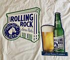 2 Vintage Rolling Rock Extra Pale Tin Tacker Metal Beer Signs Bottle Logo