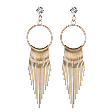 Vintage Fashion Womens Boho Rhinestone Crystal Long Tassel Stud Dangle Earrings