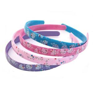 Set of 3 Hello Kitty Design Girls Headbands Pink Purple Blue