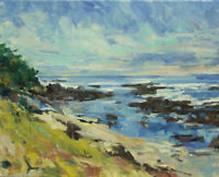 Art Oil Original Painting RM Mortensen Landscape Seascape Beach Coast Ocean