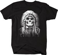 Tshirt -Painted Face Skull American Indian Native Chief