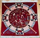 Vntg Handwoven Mystic Silk Rug Occult Wall Hanging Egyptian Carpet Tapestry 3ft