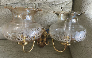 Vinatge/Retro 70s? Wall Lights - Glass With Brass? Holders - Upcycle?