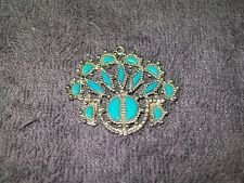 TURQUOISE & SILVER PENDANT - INTRICATE FLOWERING DESIGN