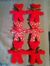 Lot of 6 Homemade Christmas Teddy Bear Ornaments/Decorations