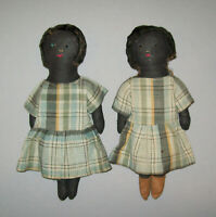 Old Antique Vtg Ca 1920s Pair of Girl Cloth Rag Dolls Probably Twins Very Nice