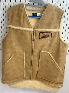 Mens Gilet M Faux Leather Effect Lightly Distressed Beige