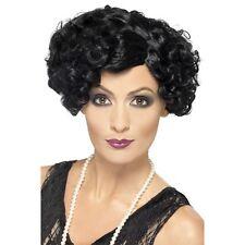 Womens Quality Black 20s Flirty Flapper Wig Short Bob Fancy Dress Gangster Curly